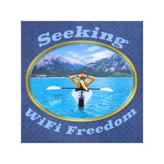 Lienzo Diseño del Kayaker de la libertad de WiFi que