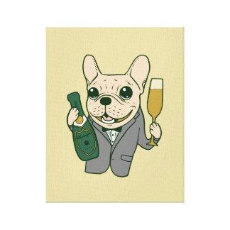 Lienzo Disfrute de Champán con Frenchie en su celebración