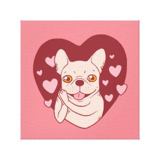 Lienzo Dogo francés que comparte amor y la pasión
