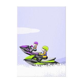 Lienzo Dos amigos paseando en sus jet ski velozmente
