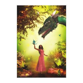 Lienzo Dragón y chica