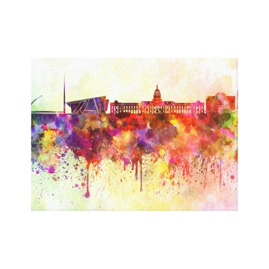 Lienzo Dublin skyline in watercolor background