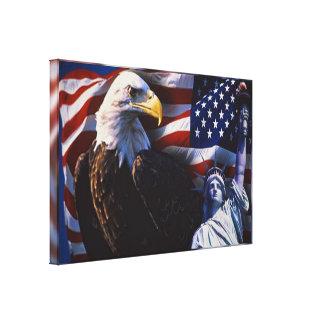 Lienzo Eagle calvo una estatua de la libertad una bandera