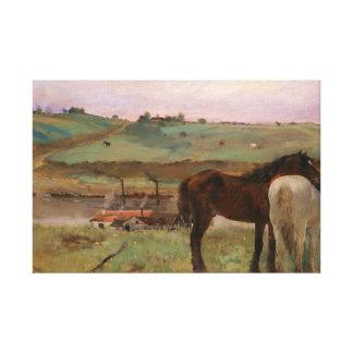 Lienzo Edgar Degas - caballos en un prado