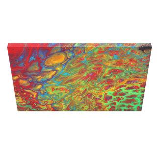 Lienzo El acrílico abstracto del arco iris vierte la
