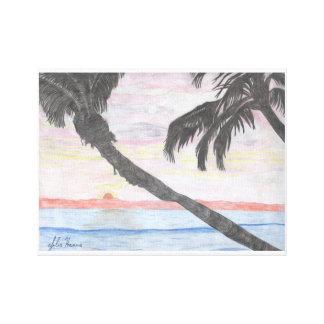 Lienzo El dibujo hawaiano de la puesta del sol