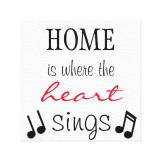 Lienzo El hogar es donde el corazón canta