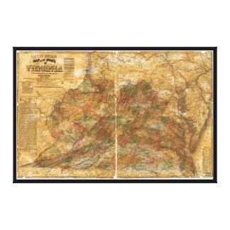 Lienzo El mapa oficial de Llyod de Virginia (1861)