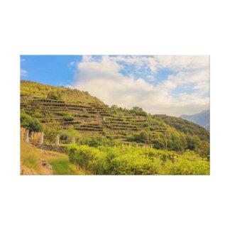 Lienzo el paisaje vitícola de Carema envolvió la lona
