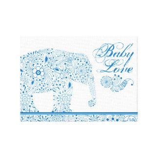 Lienzo Elefante azul del bebé de Mehndi
