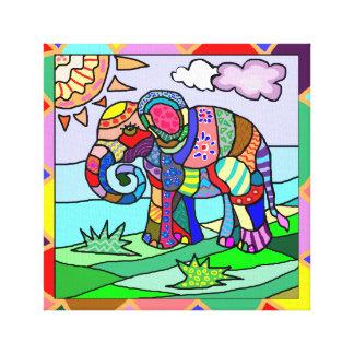 Lienzo Elefante colorido ornamental impresionante del
