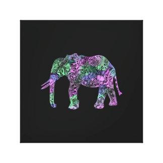 Lienzo elefante de neón floral tribal colorido
