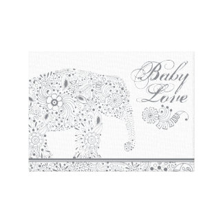 Lienzo Elefante gris del bebé de Mehndi