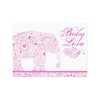 Lienzo Elefante rosado del bebé de Mehndi