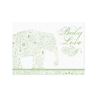 Lienzo Elefante verde del bebé de Mehndi