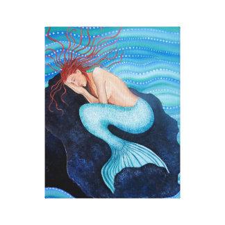 Lienzo Ella soña la lona envuelta sirena de los sueños