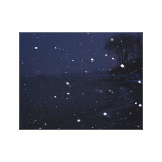 Lienzo Escena de la playa Nevado en la oscuridad