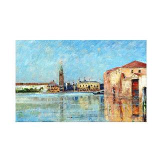 Lienzo Escena veneciana del canal del palacio del dux de
