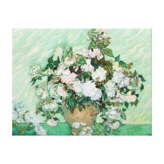 Lienzo Florero de Vincent van Gogh con los rosas rosados