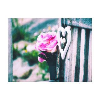 Lienzo Flores y fotografía del corazón el |