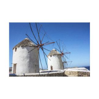 Lienzo Fotos de Mykonos: Molinoes de viento