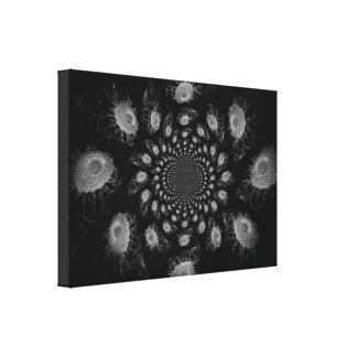 Lienzo Fractal blanco y negro de los girasoles del