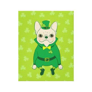 Lienzo Frenchie lindo afortunado el el día de St Patrick