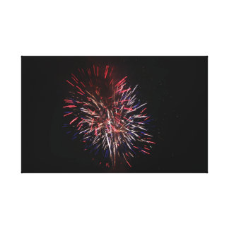 Lienzo Fuego artificial rojo, blanco, y azul