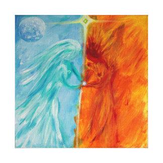 Lienzo Fuego y agua, masculino y femenino divinos