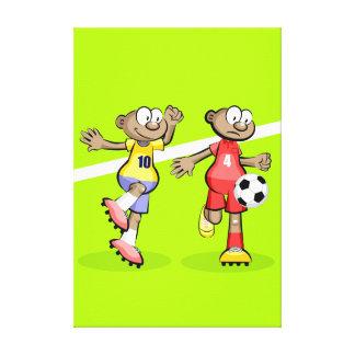 Lienzo Futbol dos jugadores persiguiendo la pelota