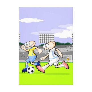 Lienzo Futbol intrépido jugador corriendo con la pelota
