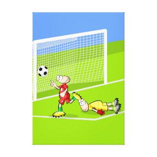 Lienzo Futbol jugador festeja el gol que hace