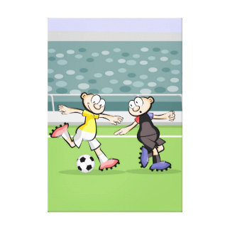 Lienzo Futbol jugador marcando a su oponente