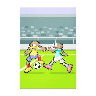 Lienzo Futbol jugador recibiendo un pase espectacular