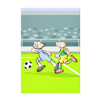 Lienzo Futbol jugadores corriendo con la pelota