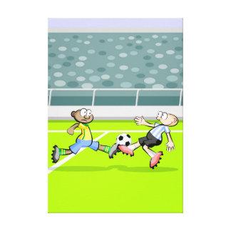 Lienzo Futbol jugadores dan un fuerte trancazo