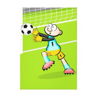 Lienzo Futbol portero toma la pelota con sus manos