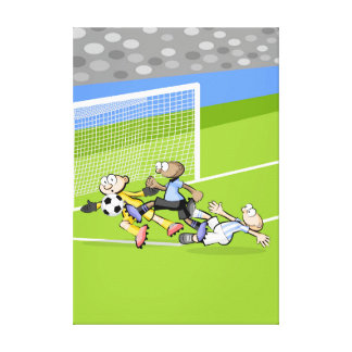 Lienzo Futbol tremenda jugada serca del arco