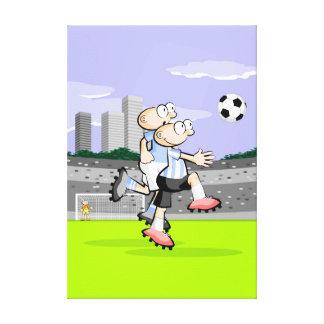 Lienzo Futbol una disputa entre jugadores por la pelota