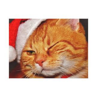 Lienzo Gato anaranjado - gato de Papá Noel - Felices