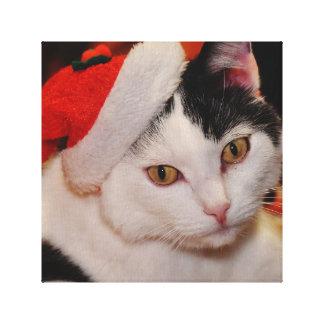 Lienzo Gato de Papá Noel - Felices Navidad - acaricie el
