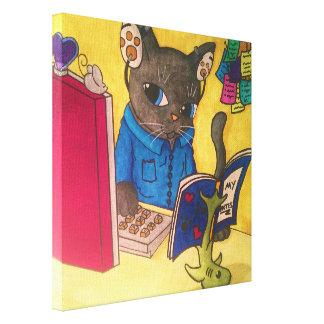 Lienzo Gato del escritor del Coon de Maine por los gatos