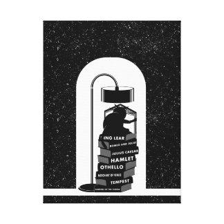 Lienzo Gato negro que lee los juegos de Shakespeare