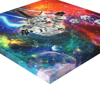 Lienzo gato psicodélico del gatito del espacio 12x12 en