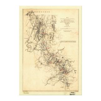 Lienzo Guerra civil Atlanta campaña mapa 1 de septiembre