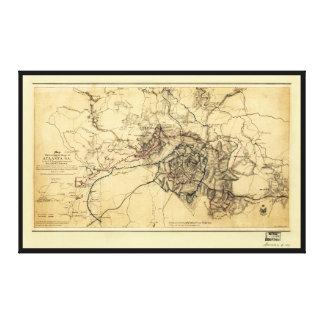 Lienzo Guerra civil Atlanta GA. Mapa (19 de julio - 26 de