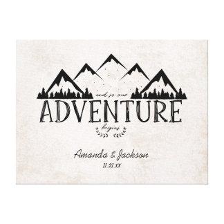 Lienzo Guestbook alternativo del boda de la aventura de