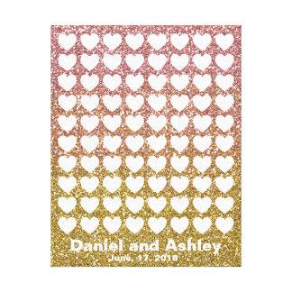 Lienzo Guestbook color de rosa de la huella dactilar de