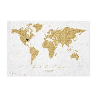Lienzo Guestbook de la alternativa del boda del mapa del