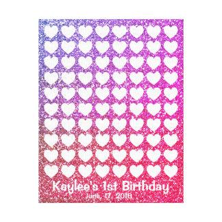 Lienzo Guestbook rosado de la huella dactilar de la firma
